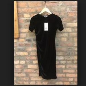 Zara Black velvet midi dress